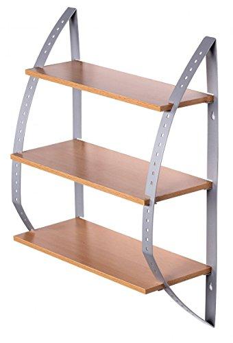 FineBuy-KITY-Wandregal-mit-3-Bden-Hngeregal-aus-Holz-Kchenregal-40cm-breit-15cm-tief-50cm-hoch-Alu-minium-Rahmen-zur-Wandmontage-Kche-oder-Bad-Regal-Modern-Buche