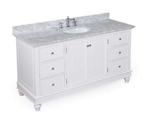 Bella 60-inch Bathroom Vanity (Carrera/White): Includes an Italian Carrera Marble Countertop, a White Cabinet, and a Ceramic Sink
