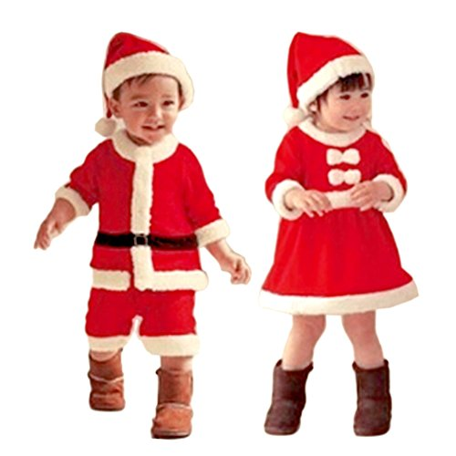 L-Asher 2-piece Baby Girls Kids Christmas Santa Claus Costume Dress + Hat Outfit Set(35-36 inch)