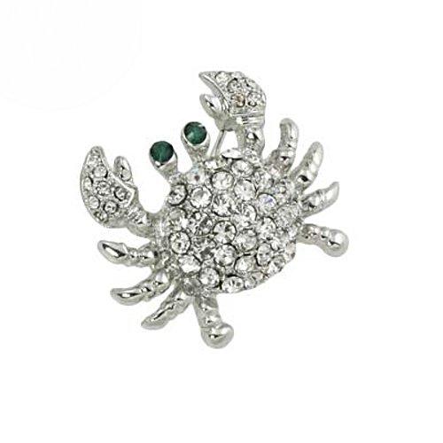 Silvertone Clear Rhinestone Crab Brooch Pin Fashion Jewerly
