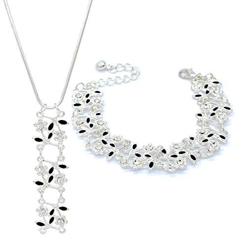 Elegante diamante non ti scordar di me fiori Link bracciale e collana Set