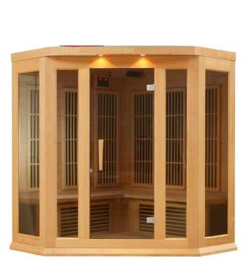 Golden Designs 3 PERSON FAR IR CARBON CORNER CEDAR SAUNA Spa- Golden Design