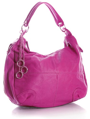 Ring Chain Charm Multi Zip Pockets Womens Slouch Hobo Shoulder Handbag, Colour: Violet