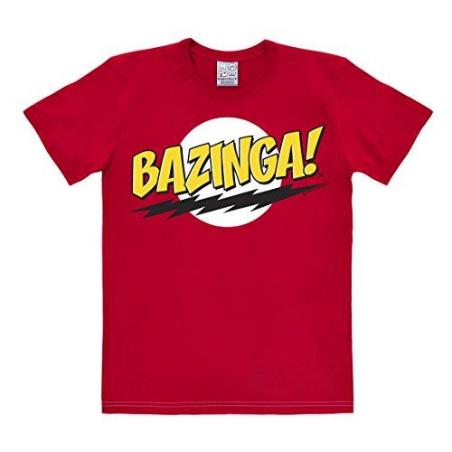 T-shirt Bazinga - maglia Big Bang Theory - Sheldon - maglietta girocollo di LOGOSHIRT - rosso - design originale concesso su licenza, taglia XXL