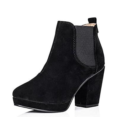 Block Heel Chelsea Platform Ankle Boots Black US Sz 5