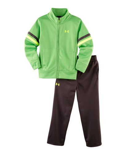 Under Armour Baby-Boys Infant Tricot Warm Up Set, Lizard Charcoal/Yellow, 18 Months front-159032