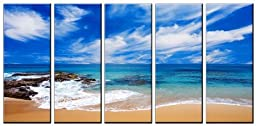 Seascape beach print on canvas, beach stones canvas prints, prints for modern home and office interior decor, seascape canvas designs, 5 panel print, beach wall art, framed and ready to hang