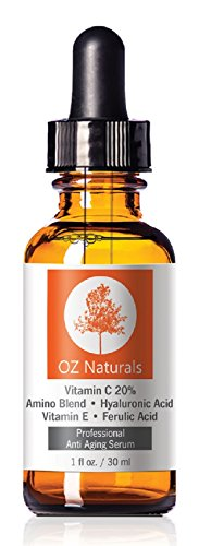 OZ Naturals - THE BEST Vitamin C Serum For Your Face - Organic Vitamin C + Amino + Hyaluronic Acid Serum- Clinical Strength 20% Vitamin C with Vegan Hyaluronic Acid Leaves Your Skin Radiant & More Youthful By Neutralizing Free Radicals. This Anti Aging Serum Will Finally Give You The Results You've Been Looking For!