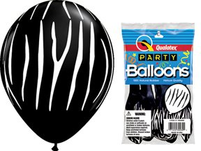 "PIONEER BALLOON COMPANY Zebra Stripes Latex Balloon, 11"", Black"