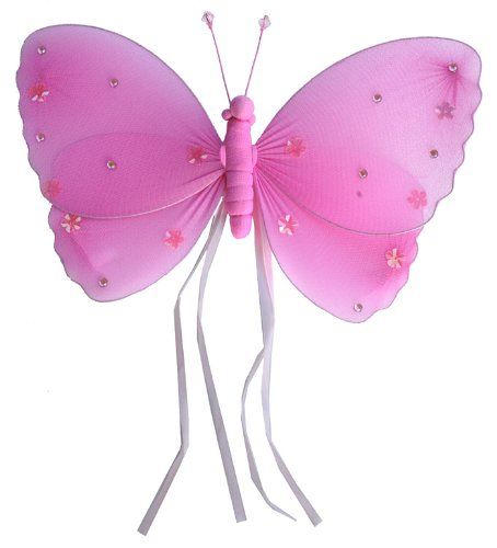 """Hanging Butterfly 13"""" Large Dark Pink (Fuchsia) Ribbons Nylon Butterflies Decorations. Decorate For A Baby Nursery Bedroom, Girls Room Ceiling Wall Decor, Wedding Birthday Party, Bridal Baby Shower, Bathroom. Kids Childrens Butterfly Decoration 3D Art Cra front-1073177"""