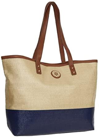 Tommy Hilfiger Dip Dye Straw Tote, Natural/Navy, One Size