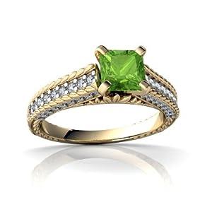 Genuine Peridot 14kt Yellow Gold engagement Ring - Size 9