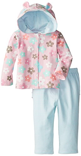 Gerber Baby-Girls Infant Girls Hooded Cardigan And Embroidery Pant Set, Daisy, 24 Months