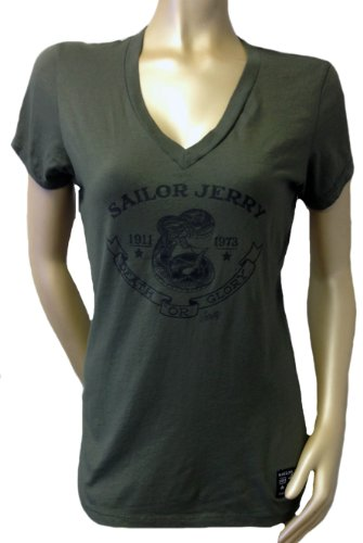 Sailor Jerry SNAKE Womens V Neck Shirt (XX-Large, Army Green) (Sailor Jerrys Tank Top compare prices)