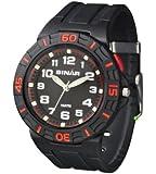 Sinar Armbanduhr - Jugenduhr analog - mit Drehring und EL-Licht - schwarz