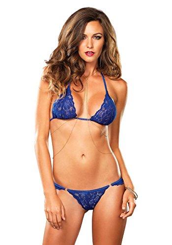 Leg Avenue 81456 - Spitze Neckholder-BH mit Passendem String und Sexy Drapiert Körper-Kette, Größe S/M, blau