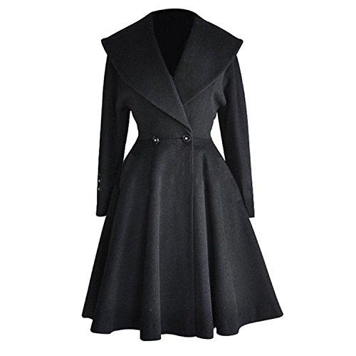 AJFASHION Women's Wool Trench Coat Lapel Wrap Swing Winter Long Overcoat Jacket, Black, US XL=Tag 2XL