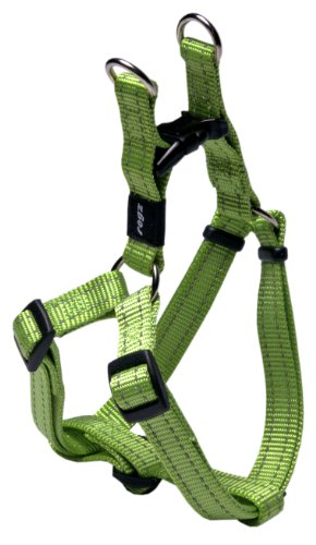 Rogz Utility Medium 5/8-Inch Reflective Snake Adjustable Dog Step-in-Harness, Lime