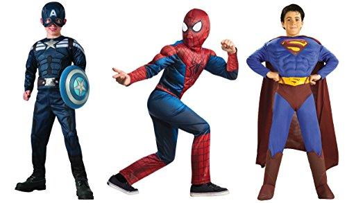 Deluxe Super Hero Costume 3 Pack - Superman - Spiderman - Captain America
