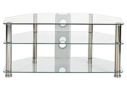 The Best  MMT- Rome Premium clear glass tv stand chrome silver leg for up to 50 inch screens