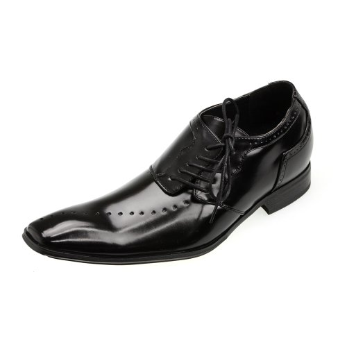 MM/ONE Elevator Shoes Height Increasing Shoes Shoes 2.55 Inch Height Long LEG Long LEG Men's Shoes Oxford Shoes Longnose Fake Medallion Lace-up Shoes Black 39 EU (US Men's 7.5 M) (Target Ballet Flats compare prices)