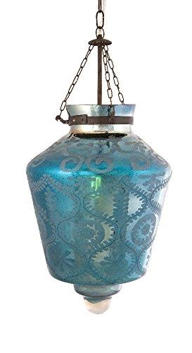 Indigo Etched Glass Pendant Light