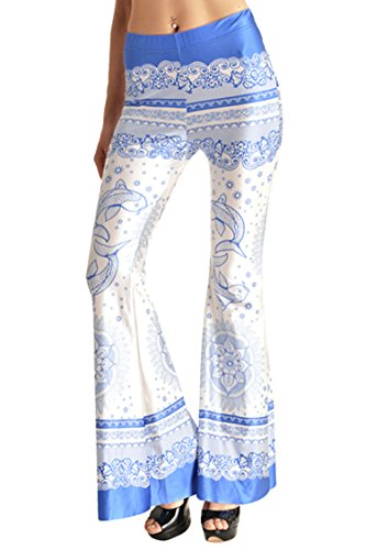 Pink Queen Women's Rock and Roll Indie Wide Leg Flared Bell Bottom Pants