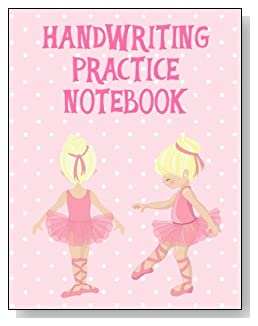 Handwriting Practice Notebook For Girls - A cute little blonde ballerina against a mostly pink background graces the cover of this handwriting practice notebook for younger girls.