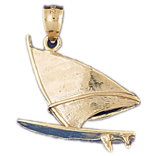 14kt Yellow Gold 3-D Wind Surfing Pendant