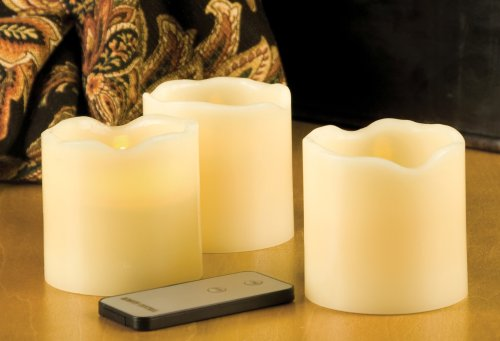 Everlasting Glow LED Wax Pillar Candles, Remote Control, Ivory, Set of 3, 3