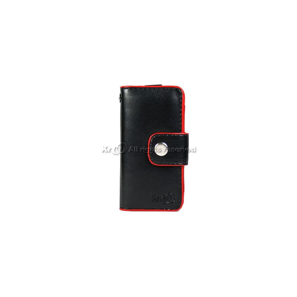Black with Red Leather Flip Case Cover Pouch WAllet For Brand Microsoft Zube 4g 8g / 4gb 8gb / 4 gb g 8 gb g