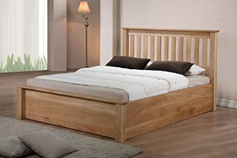 Monaco Solid Oak Ottoman Storage Double Bed