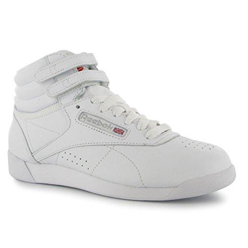 Reebok Freestyle Donna Scarpe da ginnastica High Top Sneaker in pelle tempo libero Sport scarpe, bianco (bianco), 5.5(38.5)