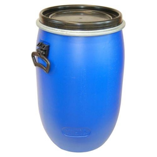 Barile polietilene 60 L apertura totale con coperchio, qualità alimentare, blu (22095)