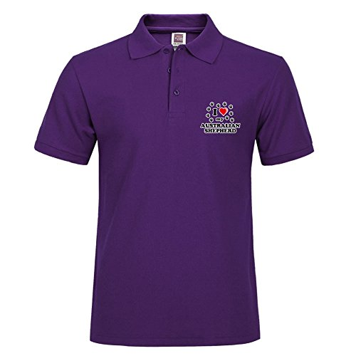 Purple Personal I Love My Australian Shepherd Style Men Fashion Casual Polo Shirt With Soft Material Size Small