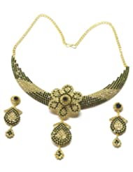Montana Dark Green And Golden Coloured Stone Neck Tie With Pendant Necklace Set For Women