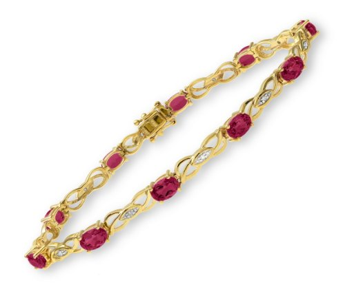 0.05 Carat Diamond with Ruby Prong Setting Bracelet in 9ct Yellow Gold