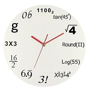 mathematics 数学 ウォールクロック 掛け時計 ホワイト