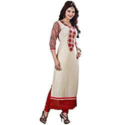 Rozdeal Women Georgette Embroidered Unstitched Half Sleeve White Anarkali Suit
