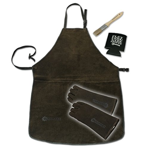 Heavy Duty Leather Apron and Leather Gloves Set with free extras by Duramake - Great for Welding , BBQ , Grinding , Woodturning , Jewelers , and other Work shop Protection