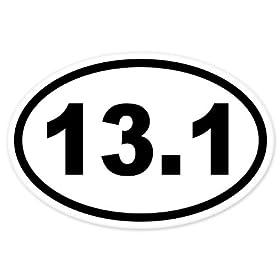 "13.1 Oval Half Marathon Run car bumper window sticker 5"" x 3"""