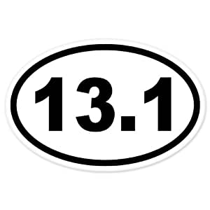 13 1 oval half marathon run car bumper window