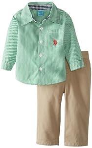 U.S. Polo Assn. Baby-Boys Infant Long Sleeve Poplin Shirt with Twill Pant from U.S. Polo Assn.