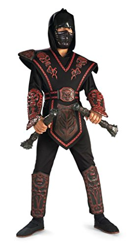 Boys Red Skull Warrior Ninja Kids Child Fancy Dress Party Halloween Costume