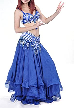 Belly Dance Performance Wear Set , Halter Bra Top and Hip Belt Wrap