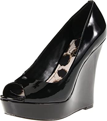 Jessica Simpson Women's Flower Wedge Pump,Black Patent,6.5 M US