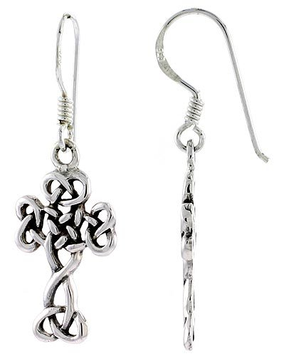 Sterling Silver Braided Cross Celtic Dangle Earrings, 1 3/8 inch (35 mm) tall