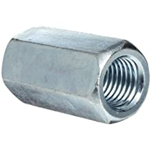 "12L14 Steel Coupling Nut, Zinc Plated Finish, Grade 2, Right Hand Threads, Corrosion Resistant, 7/8""-9 Threads, 1-1/4"" Width Across Flats (Pack of 10)"