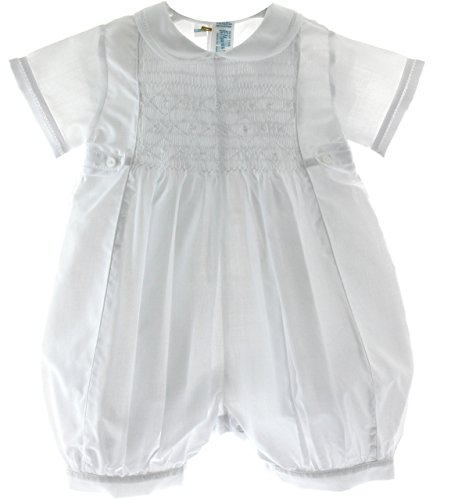 Baby Boys Solid White Christening Baptism Outfit (3M) front-836593