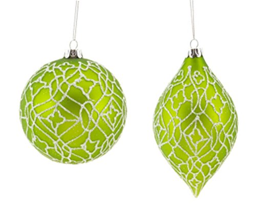Pack of 12 Lime Green and White Glitter Ball and Kismet Glass Christmas Ornaments 4'D